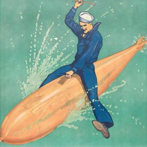 Illustration of navy man riding on a torpedo.